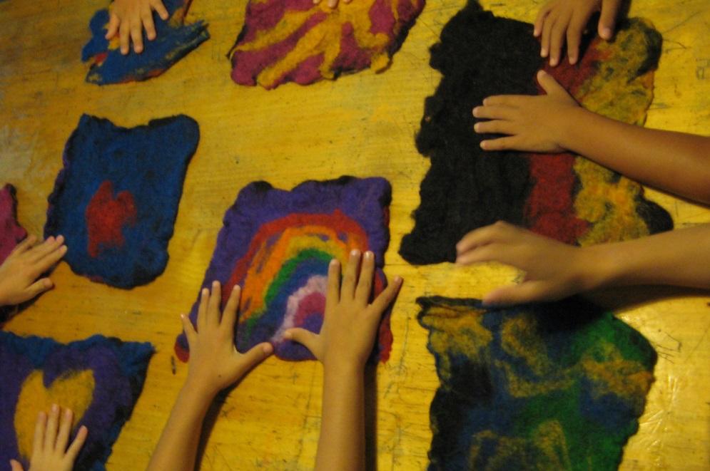 Filzen bei Kinderkulturwerk | Münchenm mit Kind