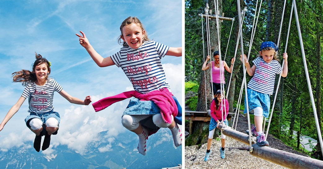 Kinder beim springen und im Hochseilgarten in Tirol | München mit Kind