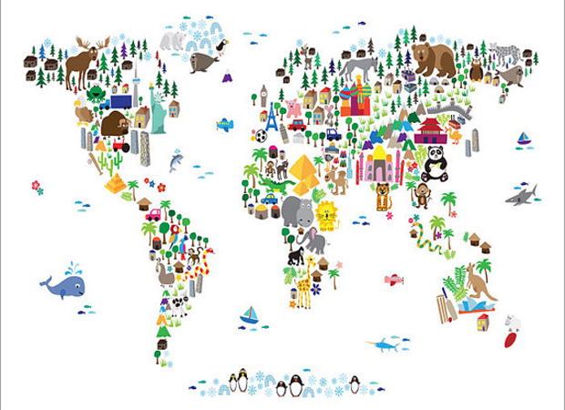 Animal Map Of The World // HIMBEER