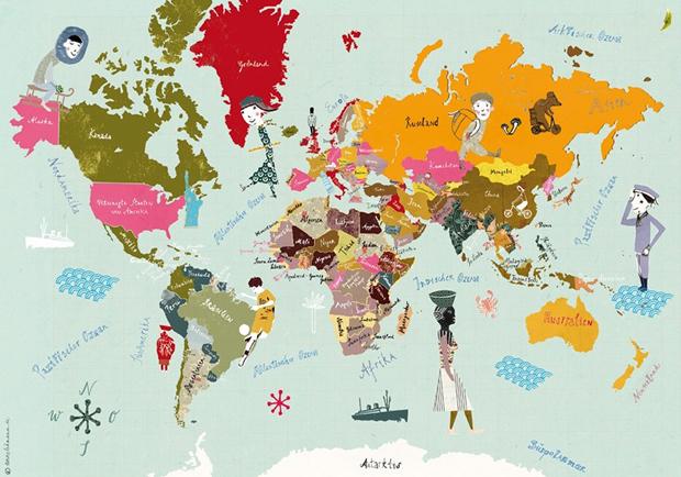 Weltkarte für Kinder // HIMBEER