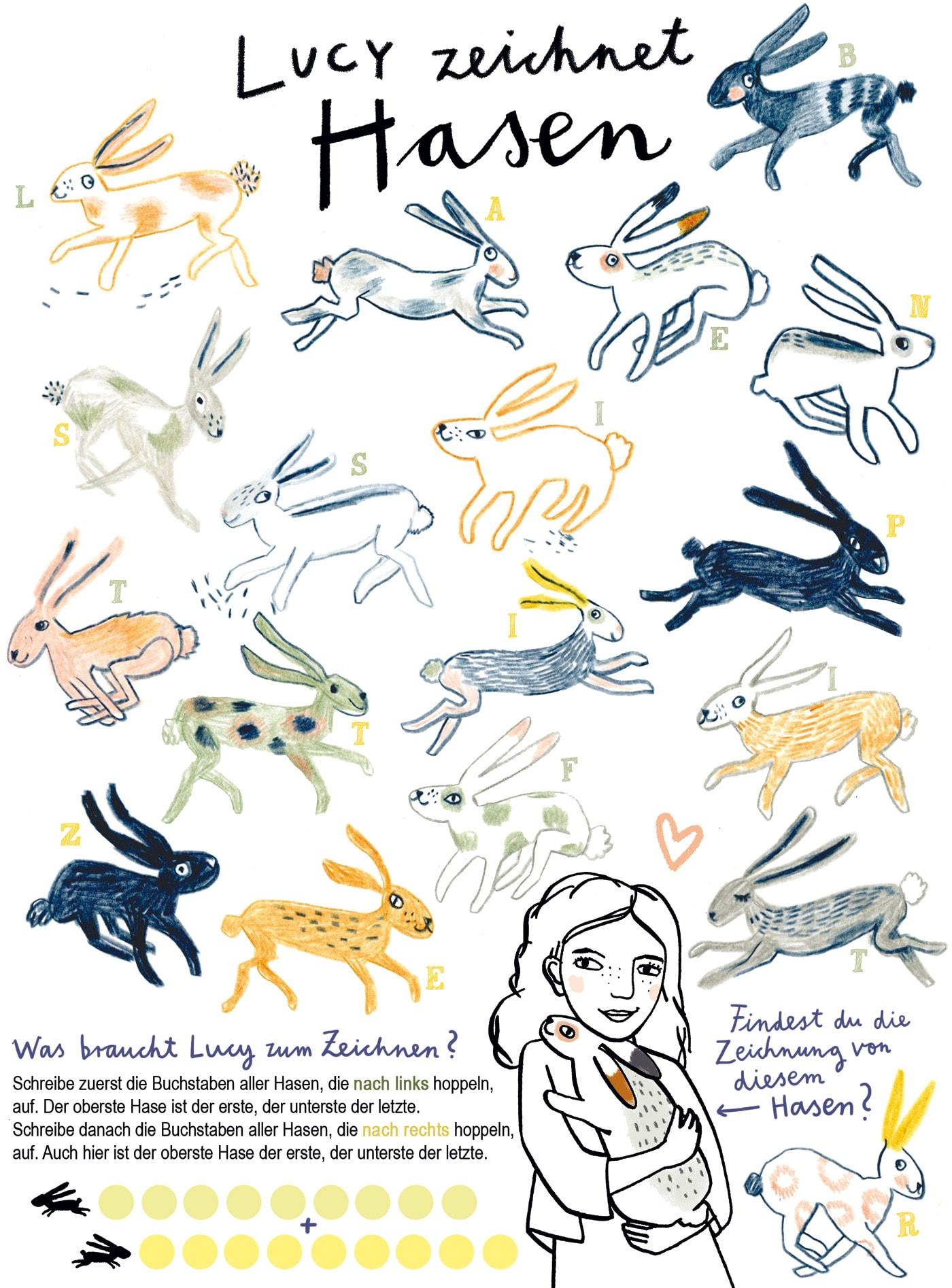 HIMBEERCHEN Kinderrätsel zu Ostern: Lucy zeichnet Hasen // HIMBEER