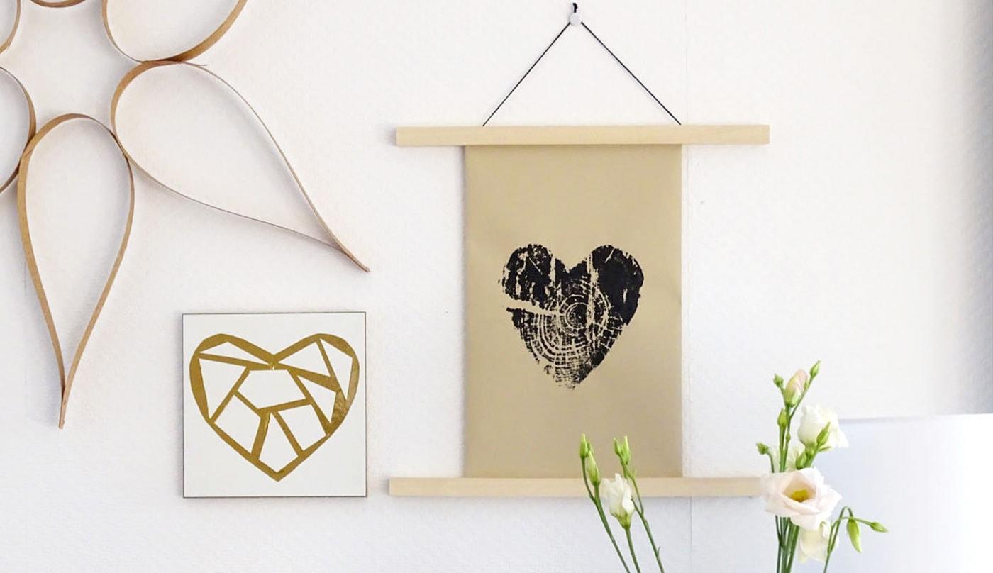 Baumdruck-Herzen – DIY-Ideen für Kinder. schöne Geschenk-Idee zum Muttertag // HIMBEER