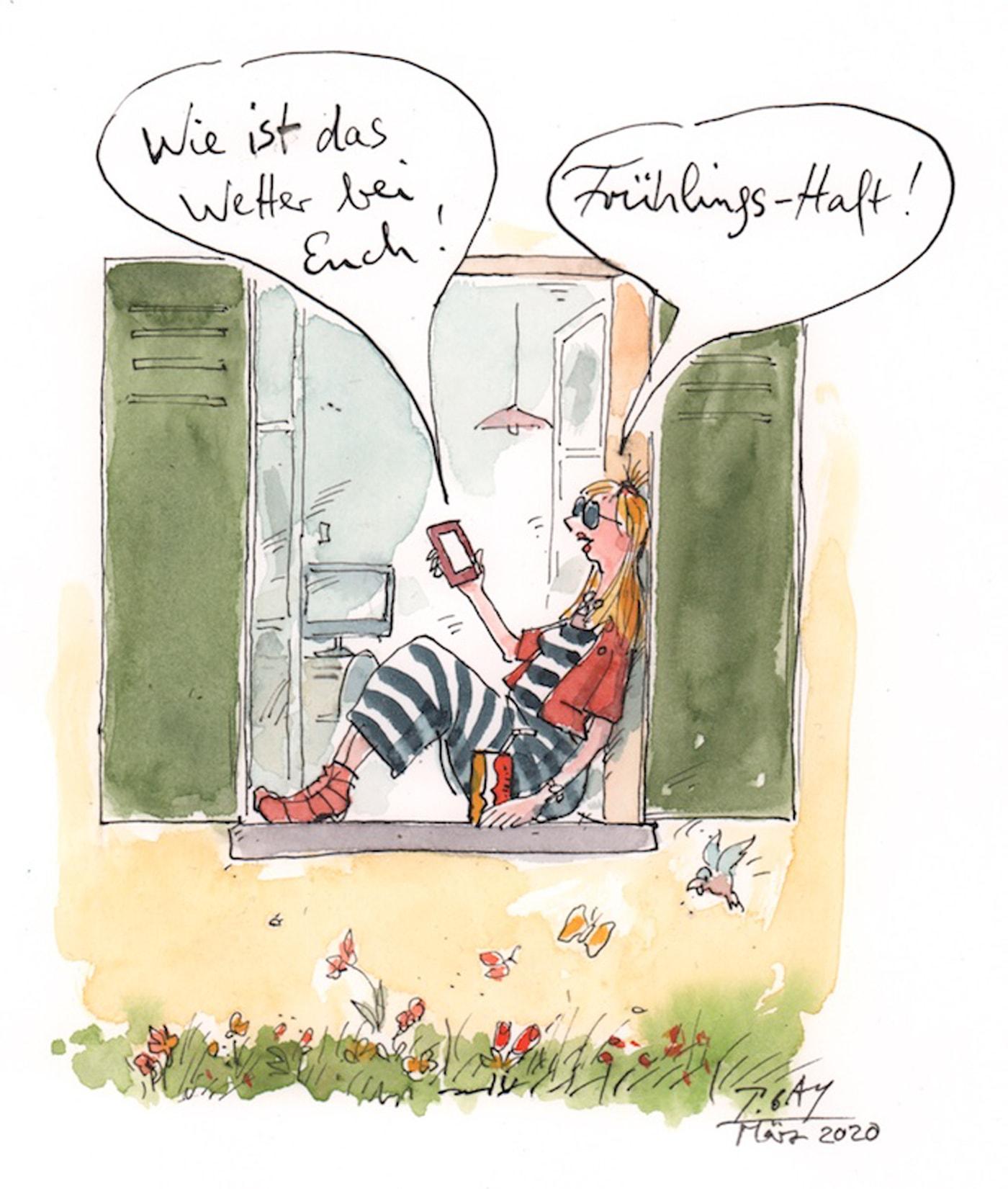 Corona-Zeichnungen von Peter Gaymann: Frühlings-Haft // HIMBEER