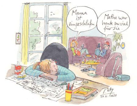Corona-Zeichnungen von Peter Gaymann: Mama ist eingeschlafen // HIMBEER