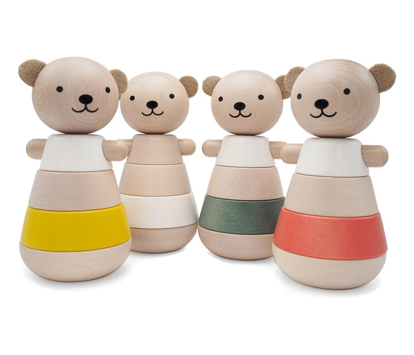 Schönes Spielzeug für kleine Kinder: Stapelbär aus Holz // HIMBEER
